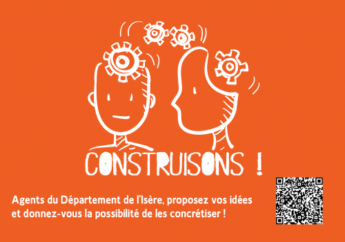 Construisons carte postale orange